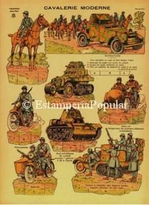 Imagen 1 correspondiente al pliego nº 4 de la serie de las Imaginerías de Jarville Nancy dedicada a las tropas francesas en los últimos años de la Guerra Europea.