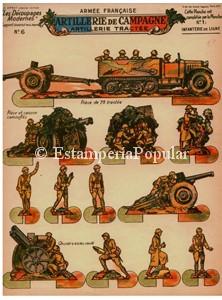 Imagen 12 relativa a la plancha nº 6 en la que ya la artillería de campaña francesa abandona los medios de transporte hipomóvil heredados de la Guerra del 14 para sustituirlos por modernos camiones oruga que no obstante como se puede observar en la imagen 13, el carromato tirado por caballerías, seguiría siendo utilizado.