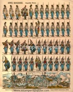Imagen 16.- Pliego sin numeración dedicado al Ejército Húngaro con una pequeña escena bélica a modo de diorama (Col R de Francisco)