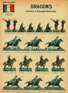 Imagen 16 de otra serie en papel fino y sin numerar dedicada a los uniformes antiguos y últimos utilizados por el ejército francés en la Gran Guerra