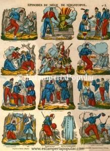 Imagen 19.- Pliego de escenas del sitio de Sebastopol (1854-1855) que nos pueden confirmar la datación inicial de estas planchas (Col. R de Francisco)
