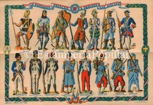 Imagen 19, reproduciendo esta singular plancha en recuerdo y homenaje a la infantería francesa con ocasión de la Navidad de 1939. El último soldado representado sería un poilu de 1915