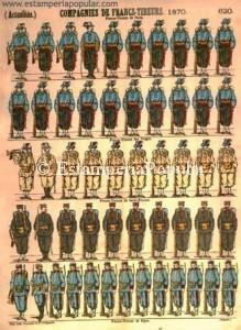 """Imagen 23.- Pliego con esta nueva firma de """"Imp. Lith. Pellerin et Cie…"""" que se puede perfectamente situar en el entorno de la guerra Franco –Prusiana toda vez que las Compañías de Franco-Tiradores fueron unidades de milicias regionales que precisamente se formarían durante esta contienda (Col R de Francisco)"""