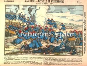 Imagen 25.- Pliego representado una de las primeras batallas emblemáticas de la guerra Franco Prusiana. (Col R de Francisco)
