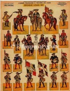 Imagen 24 con la plancha nº 2 de la serie de 11 pliegos de Bouquet representando unidades del ejército del II Imperio durante la ocupación.