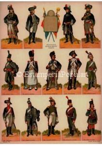 Imagen 27 representando un pliego de marca desconocida rememorando tipos militares de la época de Luís XIV como es habitual en los recortables impresos durante la ocupación alemana. Todo, menos representar al poilu de Verdun o al marsouins del Yser