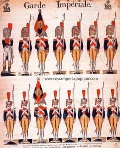 Imagen 3.- Pliego del catálogo de 1814 que contada seguridad apunta a una plancha grabada con anterioridad al incluir claramente referencias a la Guardia del Emperador (Ref: Cat. 24. Expo de Québec 1995))
