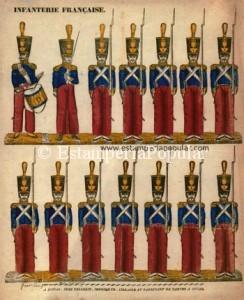 """Imagen 4.- Pliego xilografiado (papel vergé + coloreado """"au pochoir"""") probablemente grabado alrededor de 1822 con medidas de 42x35cm. (Ref: Col. R de Francisco) Con la firma """"DE LA FABRIQUE…"""" pudo estar incluido en el catálogo de 1814."""