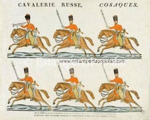 """Imagen 6.- Cavalerie Russe Cosaques, con la firma """"A EPINAL, CHEZ PELLERIN…"""" Pliego xilografiado en papel de hilo (vergé) y coloreado """"au pochoir"""" en medidas 33,5x42cm Probablemente grabado hacia 1822 en la etapa de la firma regentada por Nicolás Pellerin (Ref: Paris, Musée des Civilisations de L'Europe et de la Mediterranée)"""