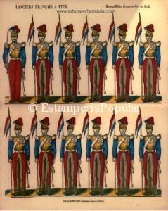 Imagen 8.- Pliego litografiado en papel mecánico y coloreado al pochoir probablemente impreso alrededor de 1835 con medidas de 42x33cm (Ref: Col R de Francisco)