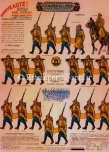 """Imagen 9 bis representando otro pliego de """"chausseurs"""" desfilando. En el que se puede observar el mantenimiento aún del pantalón azul."""