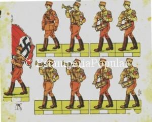 Imagen 53 Hoja recortable en pequeño formato con una formación de músicos de las S.A. (Col R de Francisco)