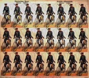 Imag 14.- Pliego nº 951 representando una compañía de ciclistas con uniforme más moderno que el representado en el pliego de la imagen nº 6 lo que nos puede llevar a reafirmarnos en la datación posterior de esta serie del triángulo. (Col R de Francisco)