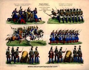Imag 3.- Pliego litografiado de Gustav Schulz probablemente representando un episodio bélico de la guerra franco-piamontesa contra Austria estampado antes de 1860 (Col R de Francisco)