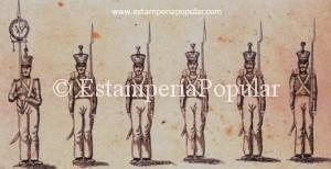 """Imag 4.- Parte de un pliego de Schreiber titulado """"Wurttenbergische Infanterie"""" contenido en """"Paper Soldiers"""" Ryan (1995) pág 193, Fig 269, probablemente estampado entre 1840 y 1844 y portando la signatura """" Esslingen bei J.F.S."""""""