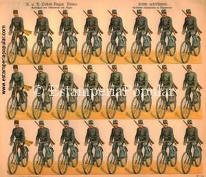 Imag 6.- Pliego de Schreiber con el nº 124 (Col R de Francisco) cuya impresión nunca podríamos datar con anterioridad a 1887 fecha en que probablemente se organizan las primeras unidades ciclistas en el ejercito alemán poco tiempo después de Italia y Francia que, en 1886 desarrolla su famosa bicicleta militar plegable.