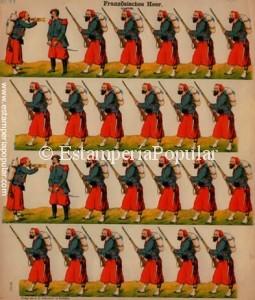"""Imag 8.- Pliego nº 121 con la firma: """"Verlag von J.F. Schreiber in esslingen"""" (Col R de Francisco) El otro pliego con esta signatura corresponde al nº 153 """"Französisches Heer Turko"""""""