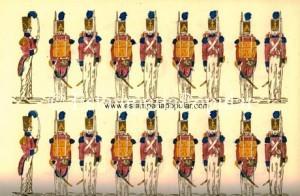 """Imag 15.- Trozo de un pliego español de Ignasi Estivill hacia 1833, representando una unidad de """"Voluntarios de Isabel II"""" que parece inaugurar las hojas de soldados """"pecho con espalda"""" (Col R. de Francisco)"""