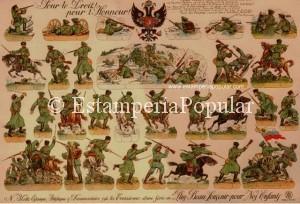Imag 23 bis.- Anverso del pliego anterior. Hojas francesas de soldados con estas características de impresión por las dos caras tendríamos junto a las emblemáticas y conocidas series de Henri Bouquet (PRO-PATRIA y PRO-FAMILIA) alguna otra marca posterior como LEPLAT (hacia 1930)