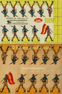 Imag 24.- Anverso y reverso de un pliego español de la marca EL TORO, impreso hacia finales de 1939 y representando una unidad de infantería formada por milicias fascistas (Col R. de Francisco) En cuanto a marcas españolas con impresión en las dos caras, aparte del TORO tendríamos otra de los años treinta denominada PUBLICACIONES CIAGRA y las representadas a continuación de la firma alavesa de HERACLIO FURNIER (ca1941) y MARFRANCH de La Coruña (1937)