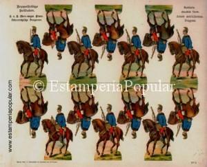 Imag 18.-Pliego nº 3 de la serie de Doppelfeitige de Schreiber representando una unidad de dragones austriacos (Col R. de Francisco)
