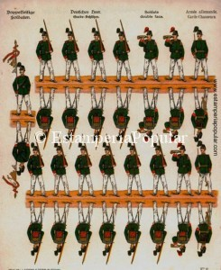 Imag 21.- Pliego nº 12 de los Doppelfeitige representando a los Cazadores de la Guardia del Ejército Imperial del II Reich (Col R de Francisco)