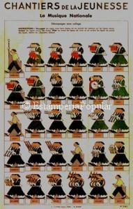 Imagen 28, reproduciendo la plancha nº 1 de esta serie de A. Capendue dedicada a Les Chantiers. En este caso una banda de música que parece solía ser muy habitual en los desfiles de esta organización. Las medidas del pliego original en cartoné litografiado eran de 49x31cm