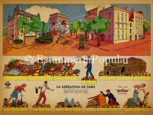 Imagen 72bis, hermosa plancha de Artima dedicada a la Liberación de Paris de la colección de Francesc López Sala de Barcelona