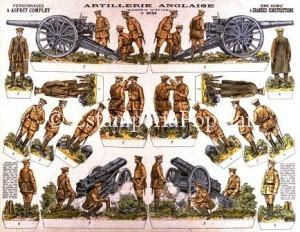 Imagen 13.- Artillería del Cuerpo expedicionario Inglés correspondiente a la plancha nº 2048 editado antes de 1916, época en que el Ejército británico no habría adoptado aún el casco de acero (FDRF)