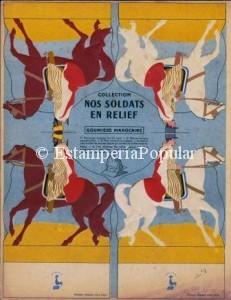 Imagen 80, curioso cartón de Willeb con soldados en relieve pecho contra espalda