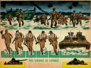 Imagen 81 con un cartonnage tamaño 29,5x35cm con una escena recortable del desembarco de Normandía