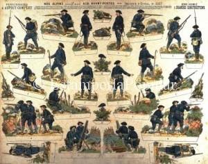 """Imagen 9.- Plancha nº 2037 representando una unidad de los comandos de montaña denominados """"Les diables bleus"""" (FDRF)"""