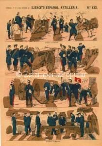 Imagen 2.- Con el pliego nº 132 coloreado a mano (a la trepa) y representado una escena bélica que muy bien pudiera ser el asedio o la defensa de una plaza de las revueltas cantonales de 1873 dado que podemos observar perfectamente una bandera roja, que sería la utilizada por ejemplo en el Cantón de Cartagena a imitación de la de los comuneros parisinos en 1871 (FDRF)