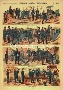 Imagen 3.- Otra versión del pliego nº 132 de la etapa de Faustino Paluzie en el que se puede observar la bandera bicolor alfonsina apuntando a una nueva tirada con coloreado litográfico hacia 1875- 1876 (FDRF)